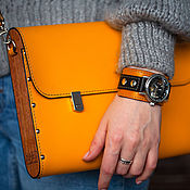 Сумки и аксессуары handmade. Livemaster - original item Yellow citrus leather and wood tablet. Handmade.