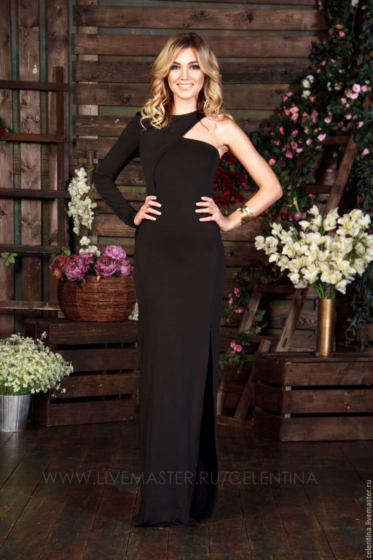 Черное вечернее платье в пол, красивое платье прямого силуэта, платье с открытым плечом, платье для особого случая, платье для выпускного, вечернее платье, длинное платье, модное дизайнерское платье