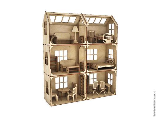Кукольный дом ручной работы. Ярмарка Мастеров - ручная работа. Купить КД-0000024 Модульный Кукольный домик 3 этажа с мебелью. Handmade.