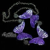 Украшения handmade. Livemaster - original item necklace polymer clay purple butterfly (106). Handmade.
