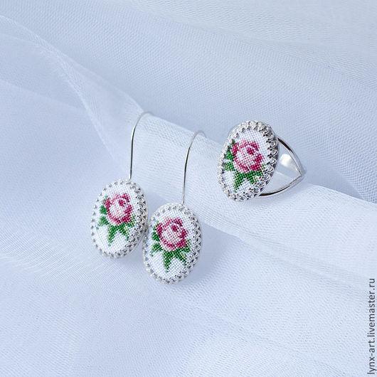 Комплекты украшений ручной работы. Ярмарка Мастеров - ручная работа. Купить Серебрянный комплект серьги и кольцо с розой. Handmade.