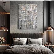 Картины ручной работы. Ярмарка Мастеров - ручная работа Стильная картина для современного интерьера с серебром и бронзой серая. Handmade.