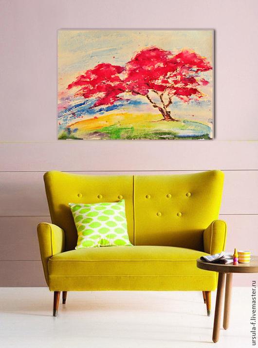 картина акварелью, акварель, акварельная картина, акварельный рисунок, акварель пейзаж, акварель японский пейзаж, акварель сакура цветет,картина для интерьера, ursula-f,