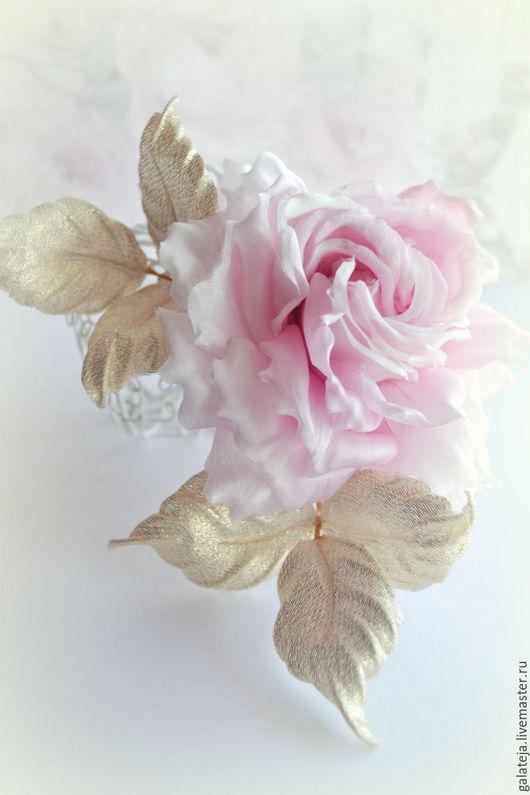 Цветы из шелка, брошь цветок, розовая роза