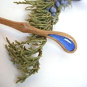 Украшения handmade. Livemaster - original item Wooden hairpin made of ash with a Drop of Resin Cornflower Blue. Handmade.