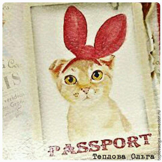 Обложки ручной работы. Ярмарка Мастеров - ручная работа. Купить Обложка на паспорт. Handmade. Кошка, кошечка, обложка на паспорт, ушки