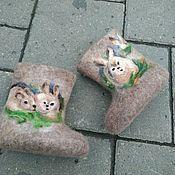 """Обувь ручной работы. Ярмарка Мастеров - ручная работа Валенки """" зайчата"""" из кардачеса. Handmade."""