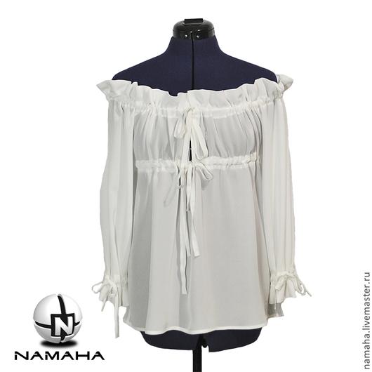 Блузки ручной работы. Ярмарка Мастеров - ручная работа. Купить Блуза белая шёлковая,  Блузка под корсет шифоновая. Handmade.