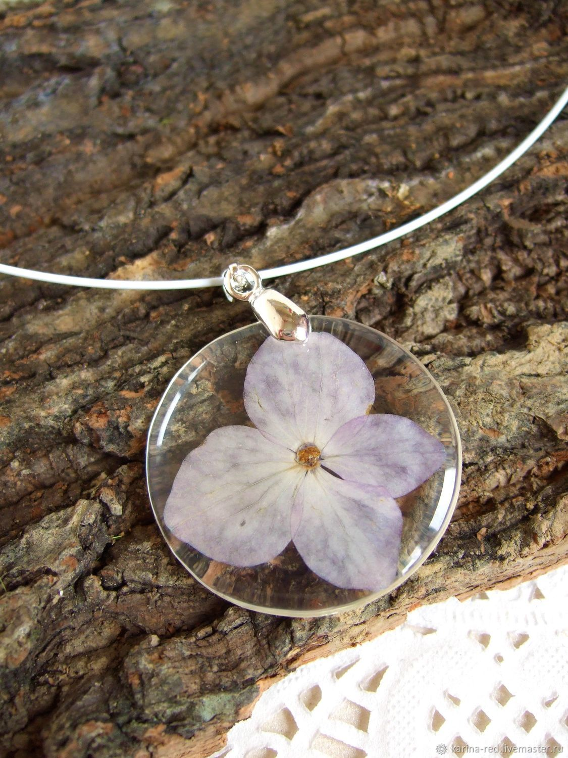 Transparent Pendant with Lilac Hydrangea Flower Botany Eco 2, Pendants, Taganrog,  Фото №1