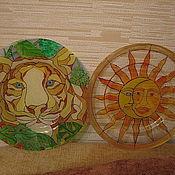 Посуда ручной работы. Ярмарка Мастеров - ручная работа Тарелки  стеклянные в ассортименте Солнцеворот, Тигр. Handmade.