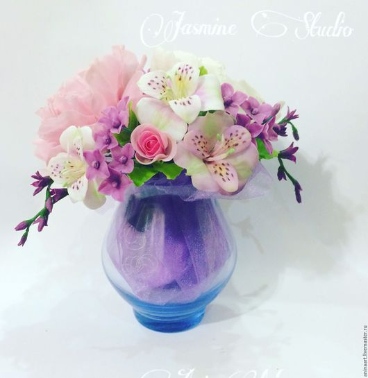 Цветы ручной работы. Ярмарка Мастеров - ручная работа. Купить Цветы из полимерной глины, композиции. Handmade. Комбинированный, букет цветов