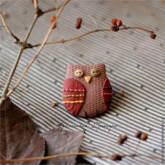 Броши ручной работы. Ярмарка Мастеров - ручная работа. Купить Теплая осень. Брошь сова. Handmade. Сова, розовый, лес