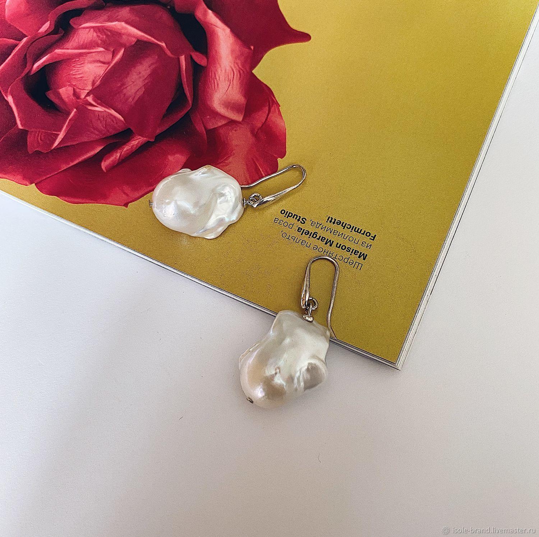 Серьги с барочным жемчугом белого цвета, серебро 925, Серьги классические, Евпатория,  Фото №1
