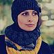 Комплекты аксессуаров ручной работы. Ярмарка Мастеров - ручная работа. Купить Вязаный комплект: шарф-снуд и повязка с цветами. Handmade.