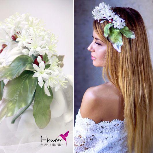 """Цветы ручной работы. Ярмарка Мастеров - ручная работа. Купить Цветы из шелка. Ободок для волос - """"Арабика"""" с цветами и ягодами кофе. Handmade."""