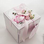 """Свадебный салон ручной работы. Ярмарка Мастеров - ручная работа Коробочка для денег Magic Box свадебная """"Розовые мечты"""". Handmade."""