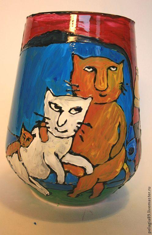 """Подсвечники ручной работы. Ярмарка Мастеров - ручная работа. Купить Подсвечник """"Уютное семейство котов"""". Handmade. Коты, кошка, удочка"""