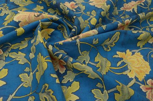 Шитье ручной работы. Ярмарка Мастеров - ручная работа. Купить Плотный шёлк натуральный под винтаж  Италия. Handmade. Синий