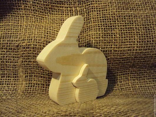 Пазл Зайчик с зайчонком, деревянная игрушка ручной работы