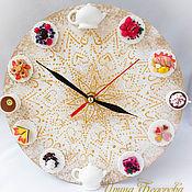 Часы с декором из полимерной глины