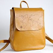 Сумки и аксессуары handmade. Livemaster - original item Backpack. Women`s urban leather backpack. World map.. Handmade.