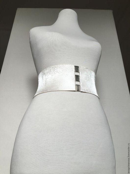 Пояса, ремни ручной работы. Ярмарка Мастеров - ручная работа. Купить пояс-резинка Белый Жемчуг, h-95мм, к нарядному, выпускному платью. Handmade.