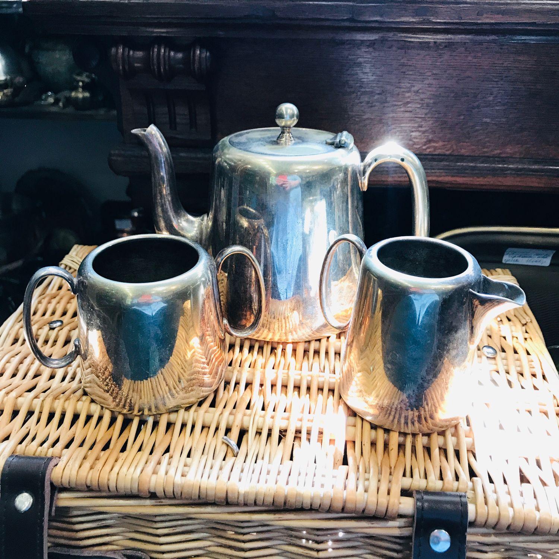 Vintage:Set of teapot, creamer, Sakha, England, XX century, silver (2845), Vintage sets, Tyumen,  Фото №1