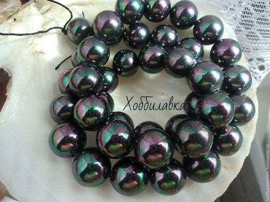 Жемчуг черный павлин Shell Pearl бусины шары.  Отличное качество поверхности, прекрасный перламутровый блеск. Размер 8 и 10 мм