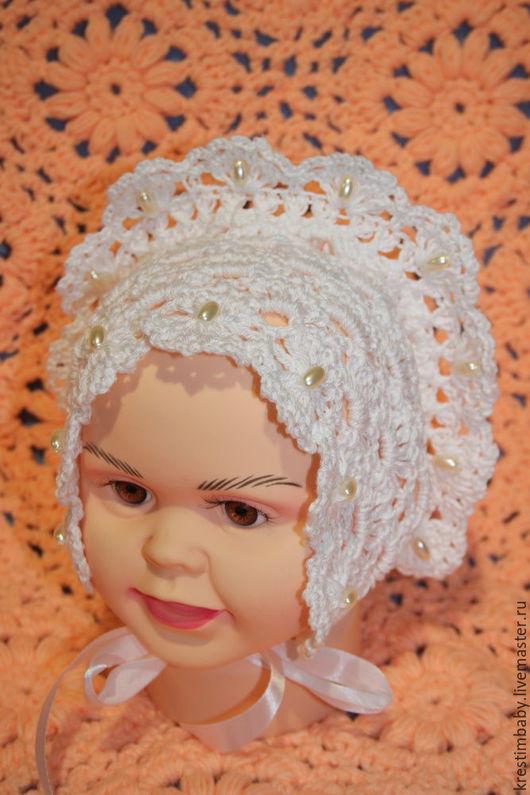 """Для новорожденных, ручной работы. Ярмарка Мастеров - ручная работа. Купить Чепчик """"Таинство"""". Handmade. Белый, чепчик для новорожденного"""
