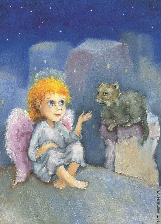 Открытки на день рождения ручной работы. Ярмарка Мастеров - ручная работа. Купить Открытка Ангел кот и вдохновение на крыше. Handmade.