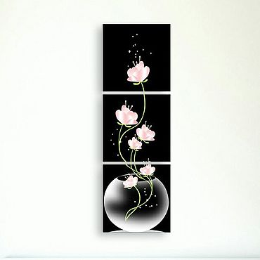 """Картины и панно ручной работы. Ярмарка Мастеров - ручная работа Модульная картина """"Цветок в вазе"""". Handmade."""