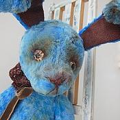 Куклы и игрушки ручной работы. Ярмарка Мастеров - ручная работа грустный зайчик Тедди Цикорий небесно голубой винтажный Тедди. Handmade.