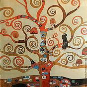 """Аксессуары ручной работы. Ярмарка Мастеров - ручная работа Платок батик """"Дерево Климта"""". Handmade."""