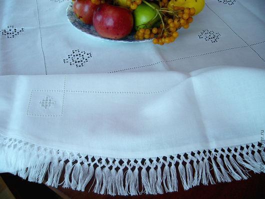 белая льняная праздничная скатерть с вышивкой белый лён строчевая вышивка мережка скатерть с бахромой традиционная скатерть ретро стиль чайная скатерть круглая для чая плетение бахрома, эко дом