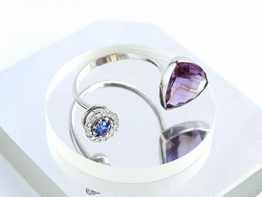 Кольца ручной работы. Ярмарка Мастеров - ручная работа. Купить Золотое кольцо с аметистом, сапфиром и бриллиант. Handmade. Подарок женщине