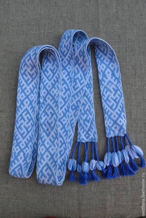 """Ткачество ручной работы. Ярмарка Мастеров - ручная работа. Купить Пояс плетенный на бердо с славянским символом """"Одолень трава"""". Handmade."""