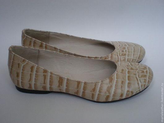 Обувь ручной работы. Ярмарка Мастеров - ручная работа. Купить Балетки бежевые. Handmade. Бежевый, балетки из кожи, кожа натуральная