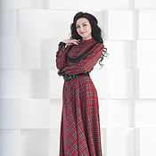 Одежда handmade. Livemaster - original item Plateline to the floor,dress in a red cell. Handmade.