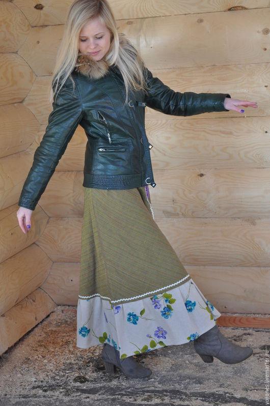 Юбки ручной работы. Ярмарка Мастеров - ручная работа. Купить Льняная юбка с ирландскими мотивами.. Handmade. Оливковый, юбка с воланами