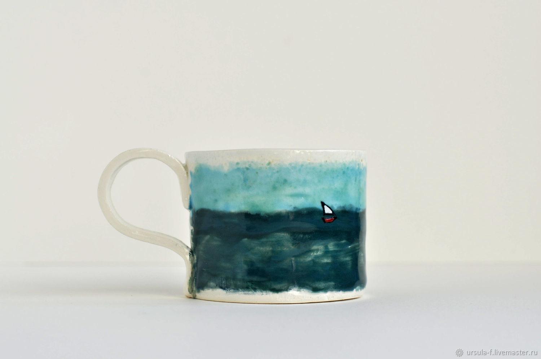 Кружки и чашки ручной работы. Ярмарка Мастеров - ручная работа. Купить Чашка керамическая Морская, керамичка ручной работы, посуда. Handmade.