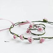 Диадемы ручной работы. Ярмарка Мастеров - ручная работа Цветочный венок на голову и браслет. Handmade.