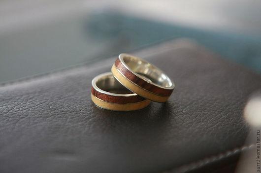 Свадебные украшения ручной работы. Ярмарка Мастеров - ручная работа. Купить Кольца с двойным деревом и тонкой серебряной полосой. Handmade.