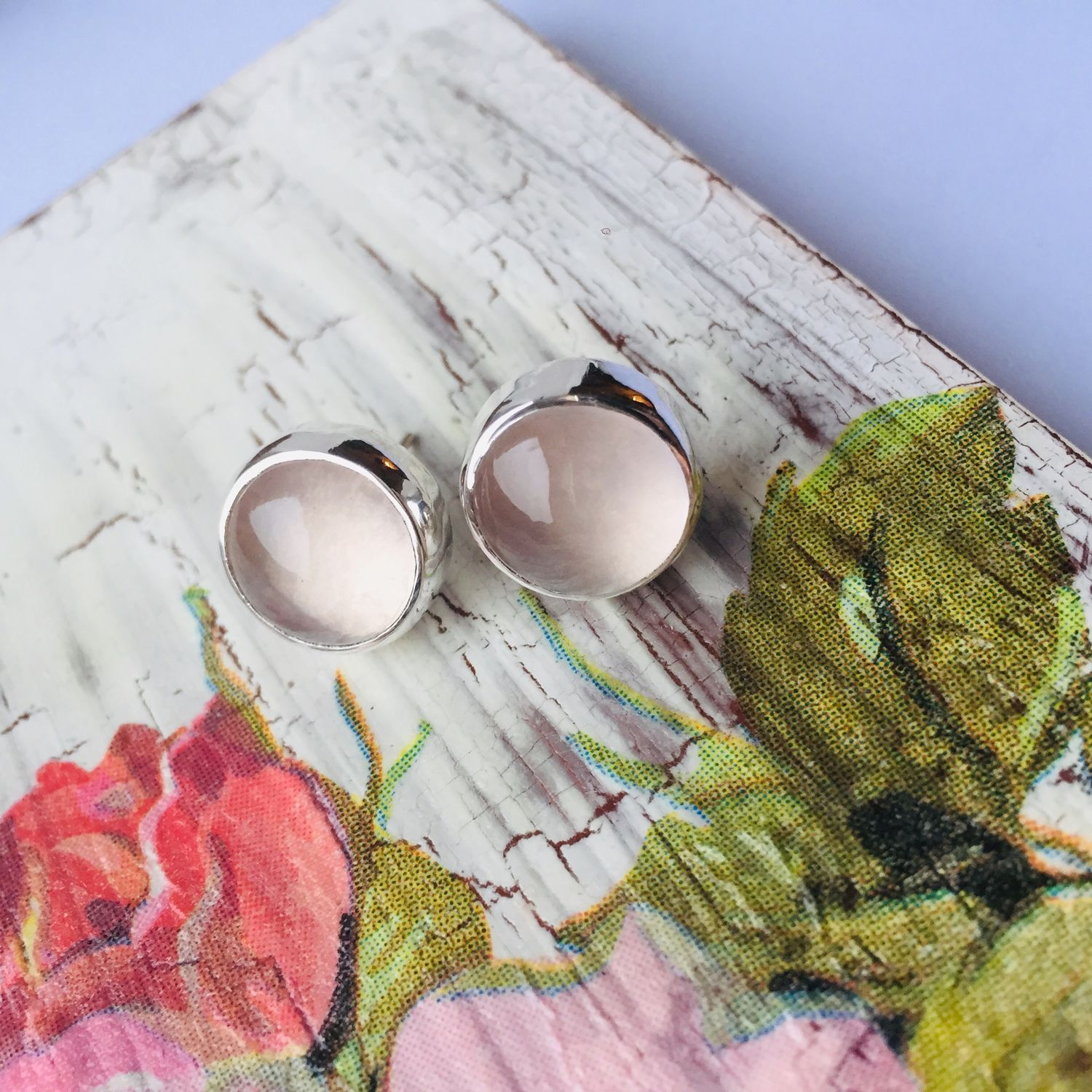 Carnations with rose quartz, Stud earrings, Moscow,  Фото №1