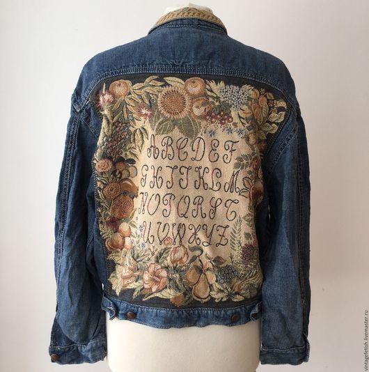Одежда. Ярмарка Мастеров - ручная работа. Купить Винтажная джинсовая куртка с алфавитом. Handmade. Жакет из денима, синяя куртка