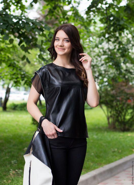 Топ кожаный женский, Ричмонд Двойной, из кожи натуральной, черный, кожаный  топ, футболка кожаная, женская футболка, натуральная кожа, черная футболка, черный топ, блуза, T-short, короткий рукав