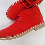 Обувь ручной работы. Ярмарка Мастеров - ручная работа Красные замшевые ботинки. Handmade.
