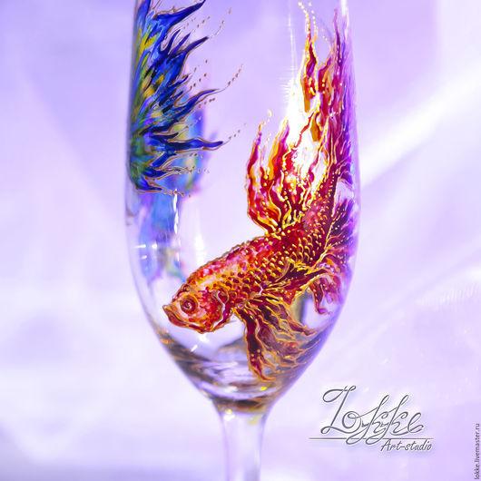 Бокалы, стаканы ручной работы. Ярмарка Мастеров - ручная работа. Купить коктейльные, пивные, бокалы - сиамские рыбки. Handmade.
