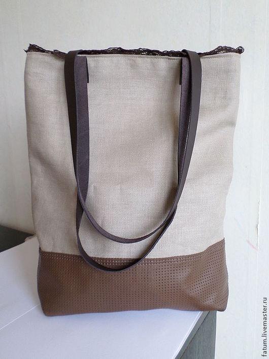 Женские сумки ручной работы. Ярмарка Мастеров - ручная работа. Купить Сумка тоте из льна, кожи и кружева Песочная романтика. Handmade.