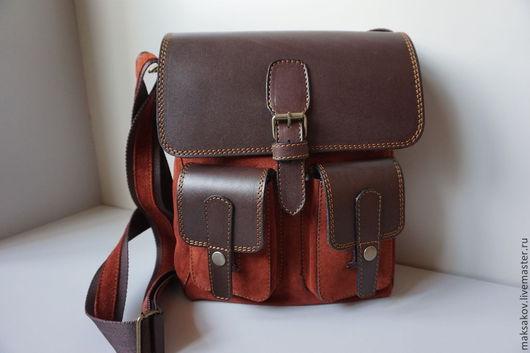 Мужские сумки ручной работы. Ярмарка Мастеров - ручная работа. Купить Балтийская сумка из натурального велюра. Handmade. Однотонный