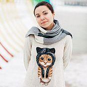 Одежда ручной работы. Ярмарка Мастеров - ручная работа МиМишный котик. Валяние на одежде. Войлочный кот.. Handmade.